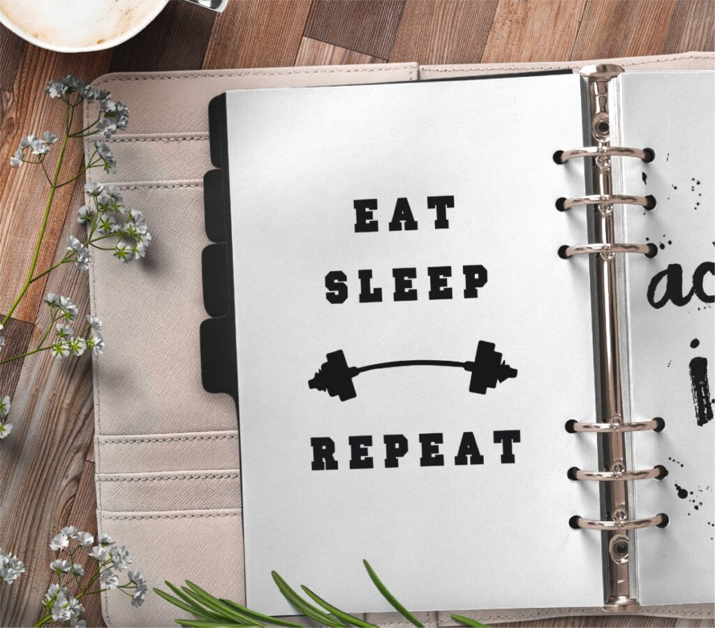 inspirational quote planner page - eat sleep repeat