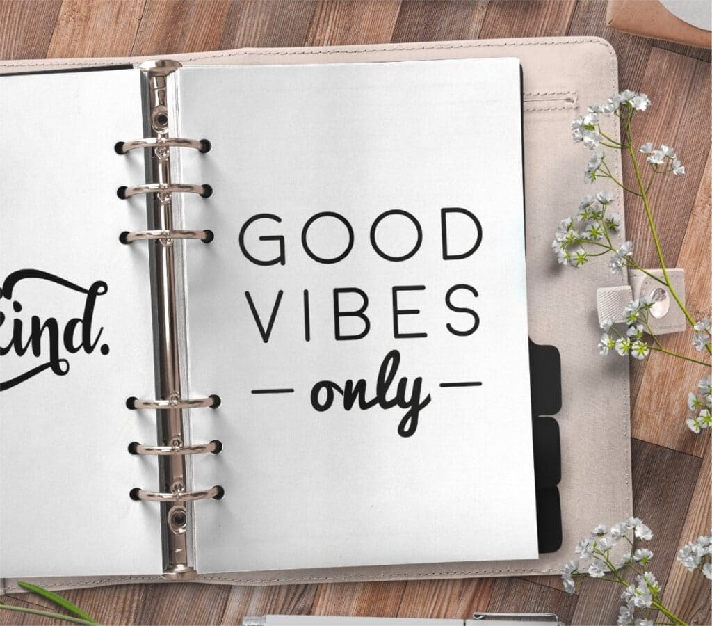 inspirational quote planner page - good vibes only