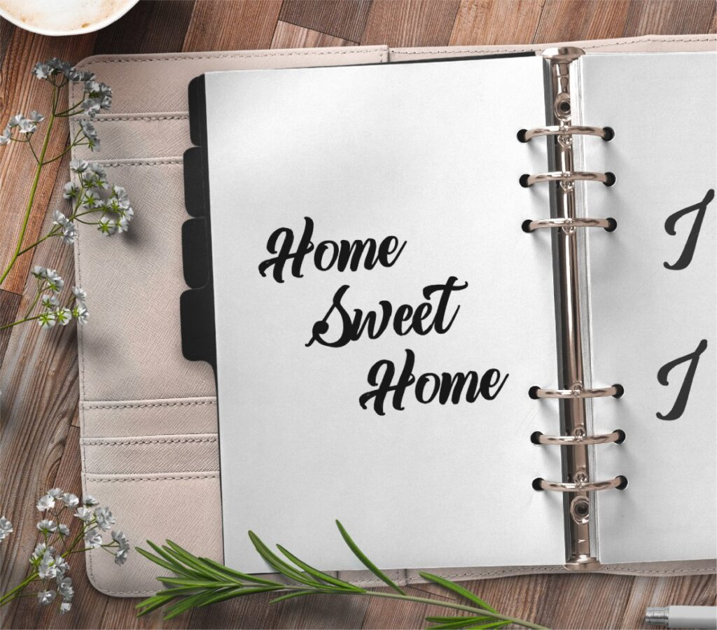 inspirational quote planner page - home sweet home