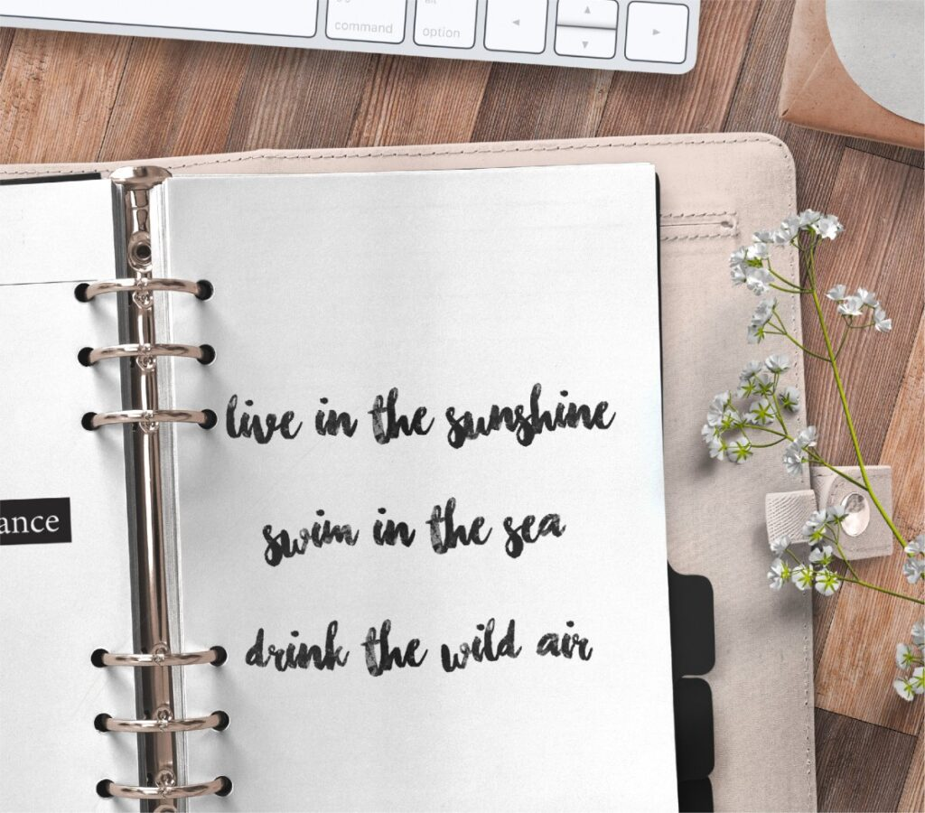 inspirational quote planner page - live in the sunshine