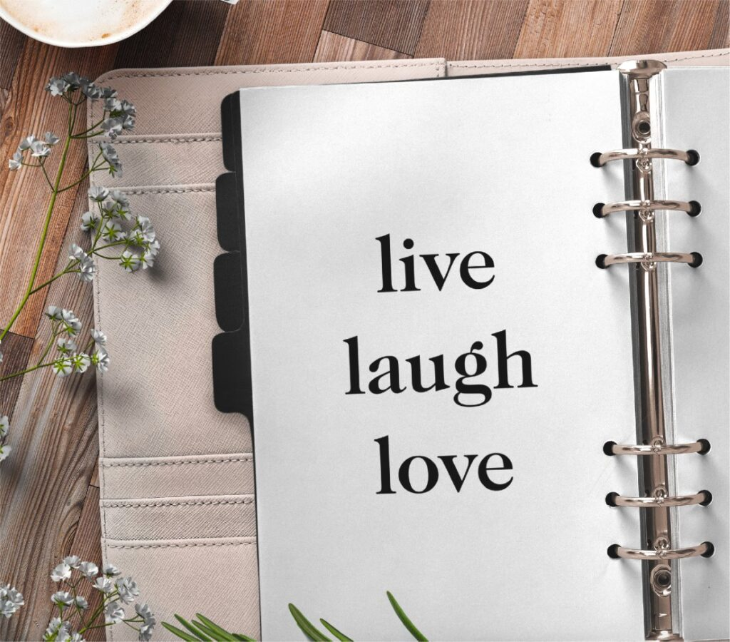 inspirational quote planner page - live laugh love