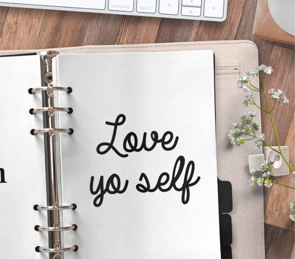 inspirational quote planner page - love yo self