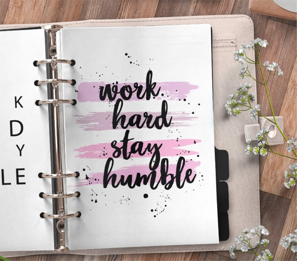 inspirational quote planner page - work hard stay humble