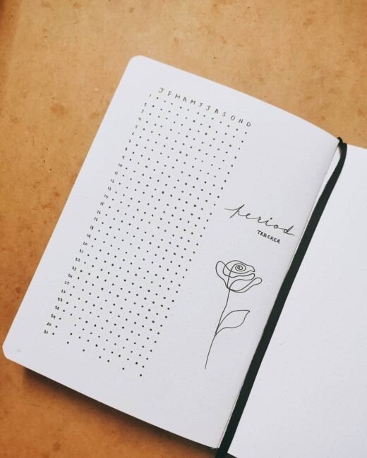 minimalist bullet journal period tracker