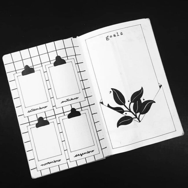 black and white bullet journal ideas