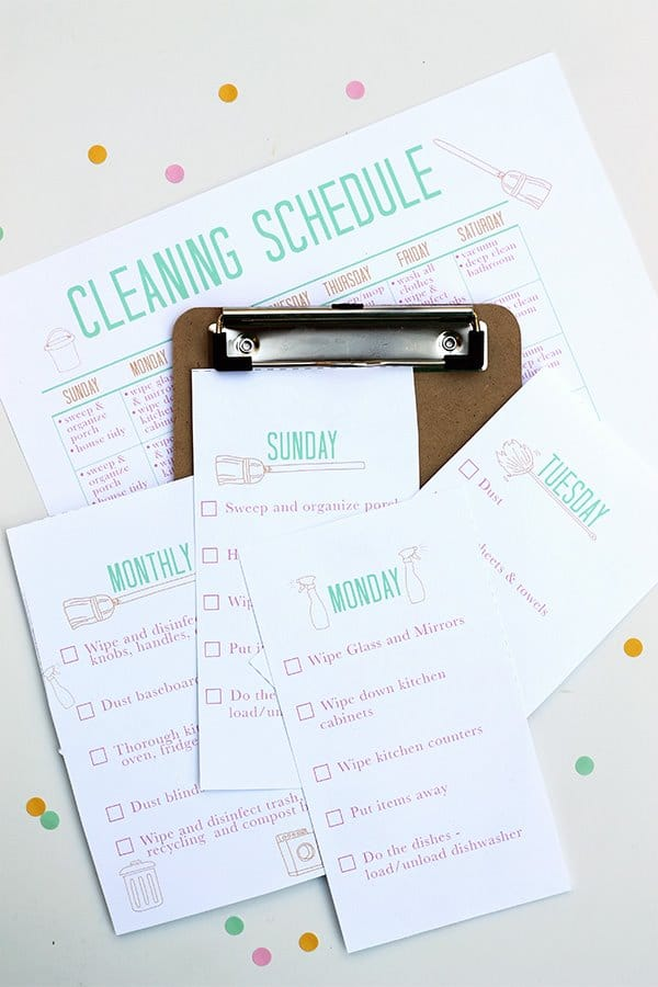 printable daily cleaning schedule