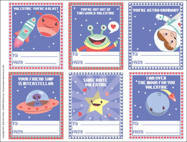 Free Printable Space Valentines for Kids