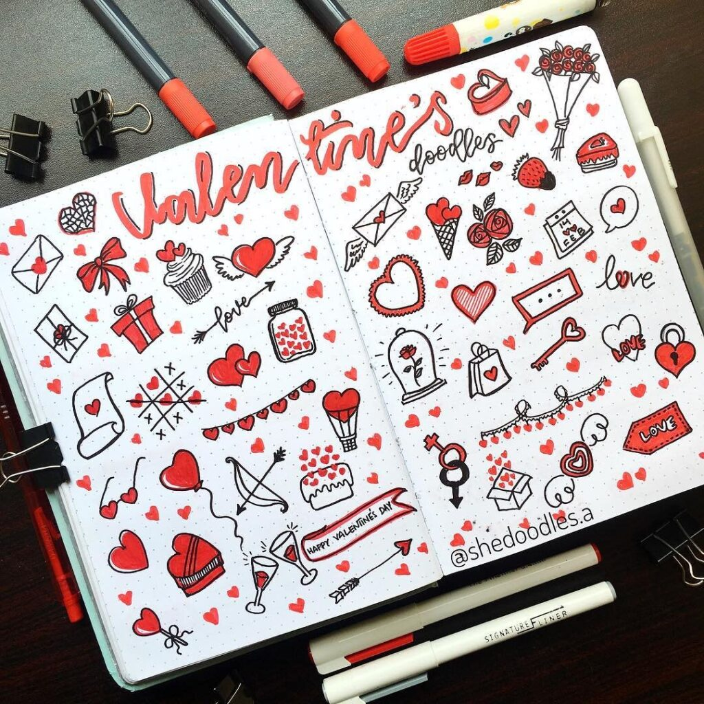 valentine's day bullet journal doodles