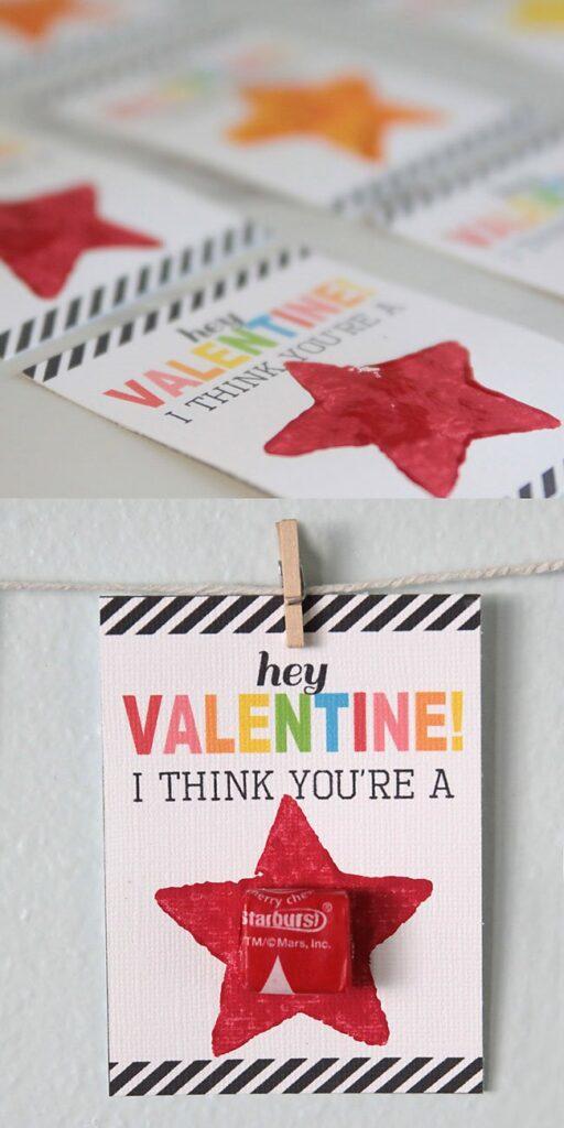 Starburst Valentine's Day Card printable