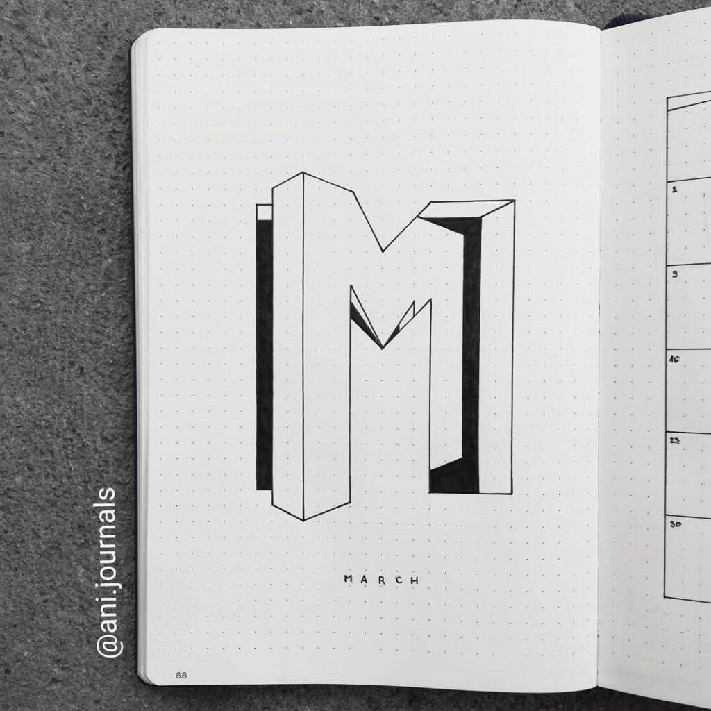3D Lettering March Bullet Journal Idea