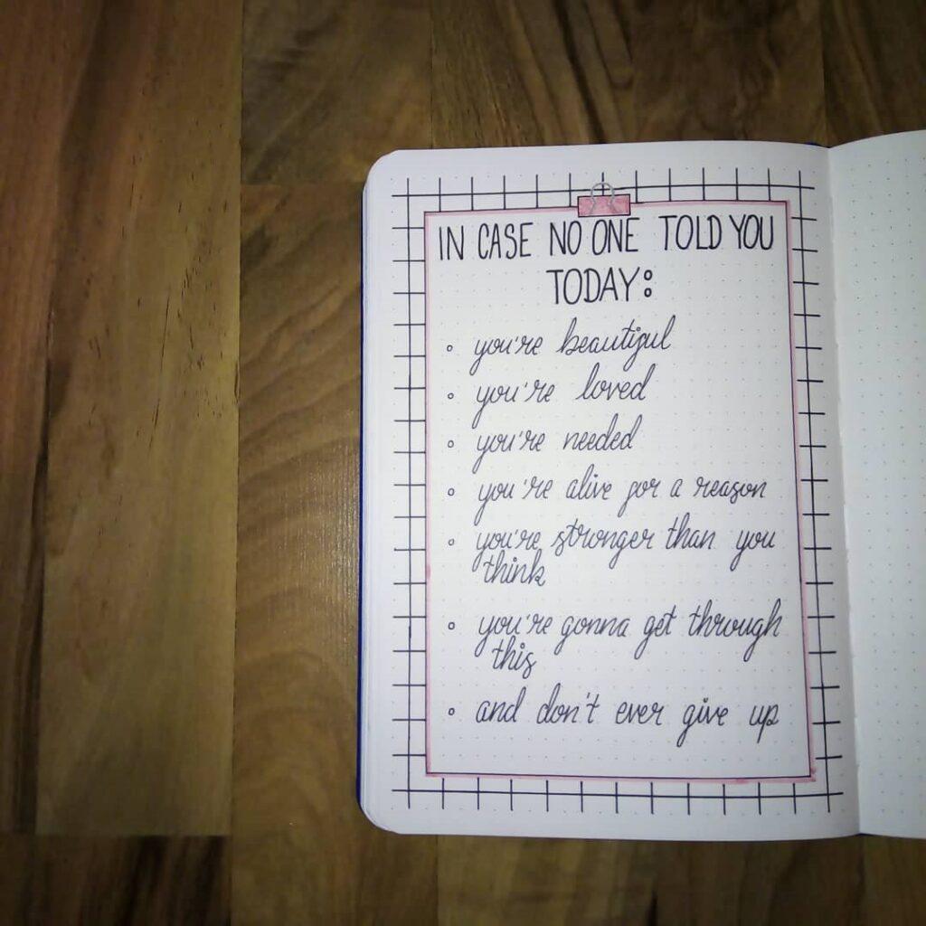 Affirmation March Bullet Journal Idea