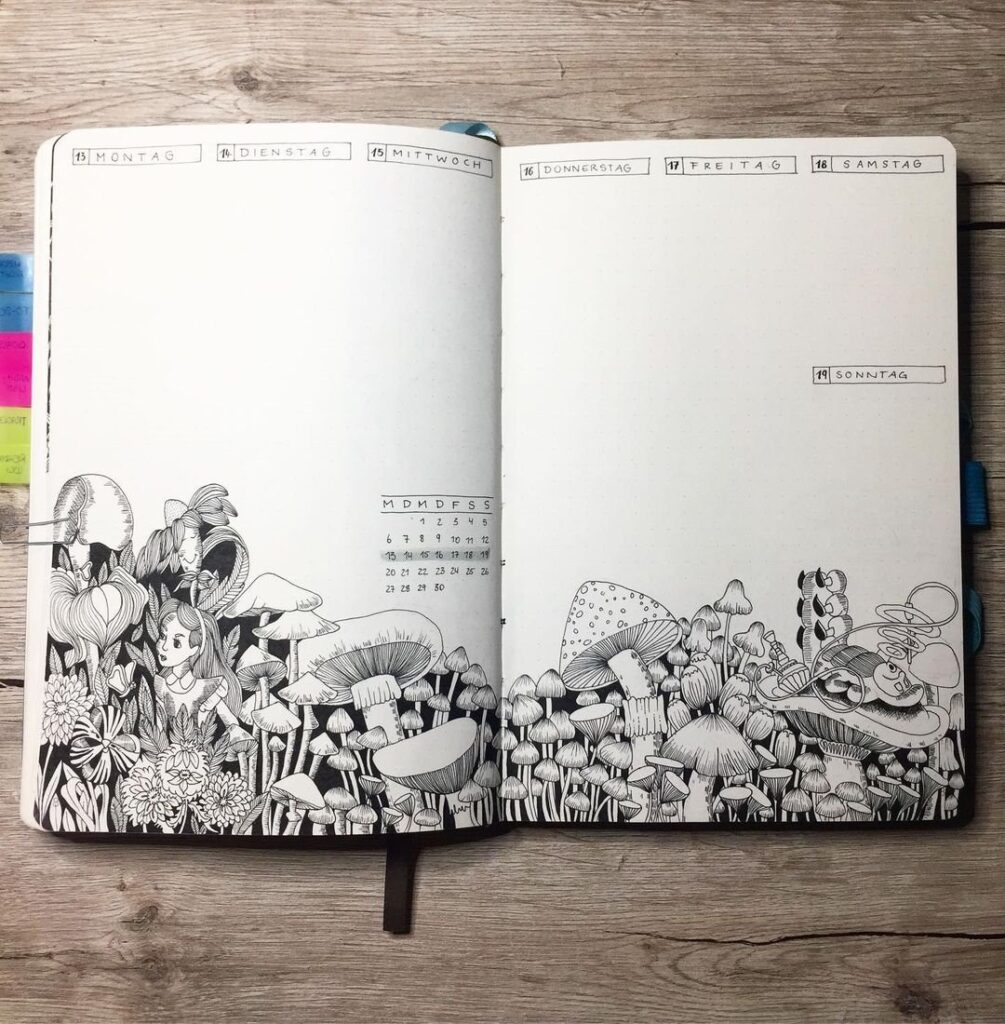 Alice in Wonderland April Bullet Journal Idea
