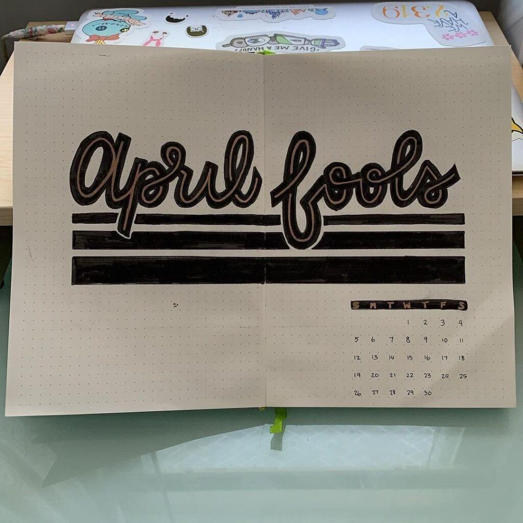 April Fools April Bullet Journal Cover Idea