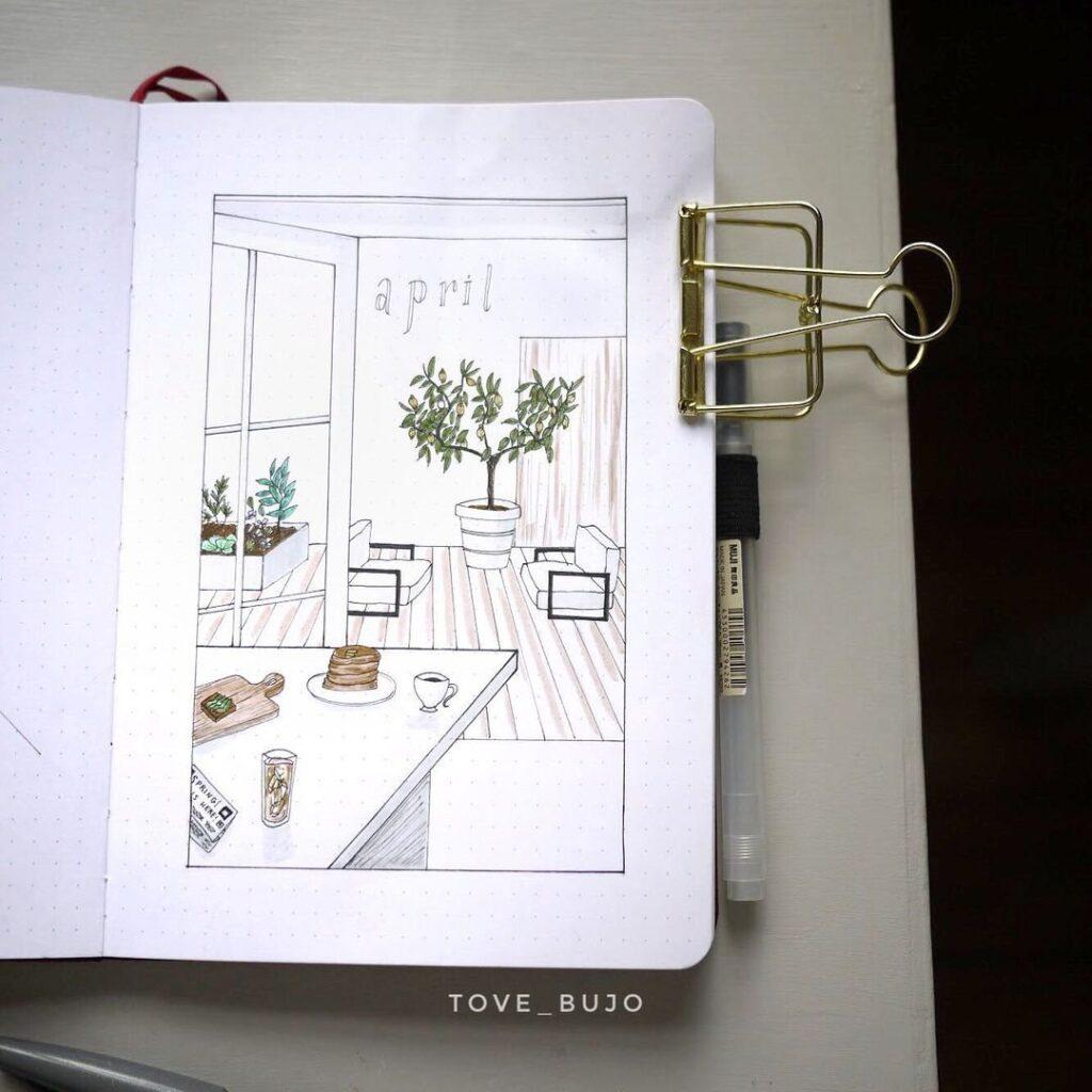 At Home Illustration Bullet Journal Inspiration