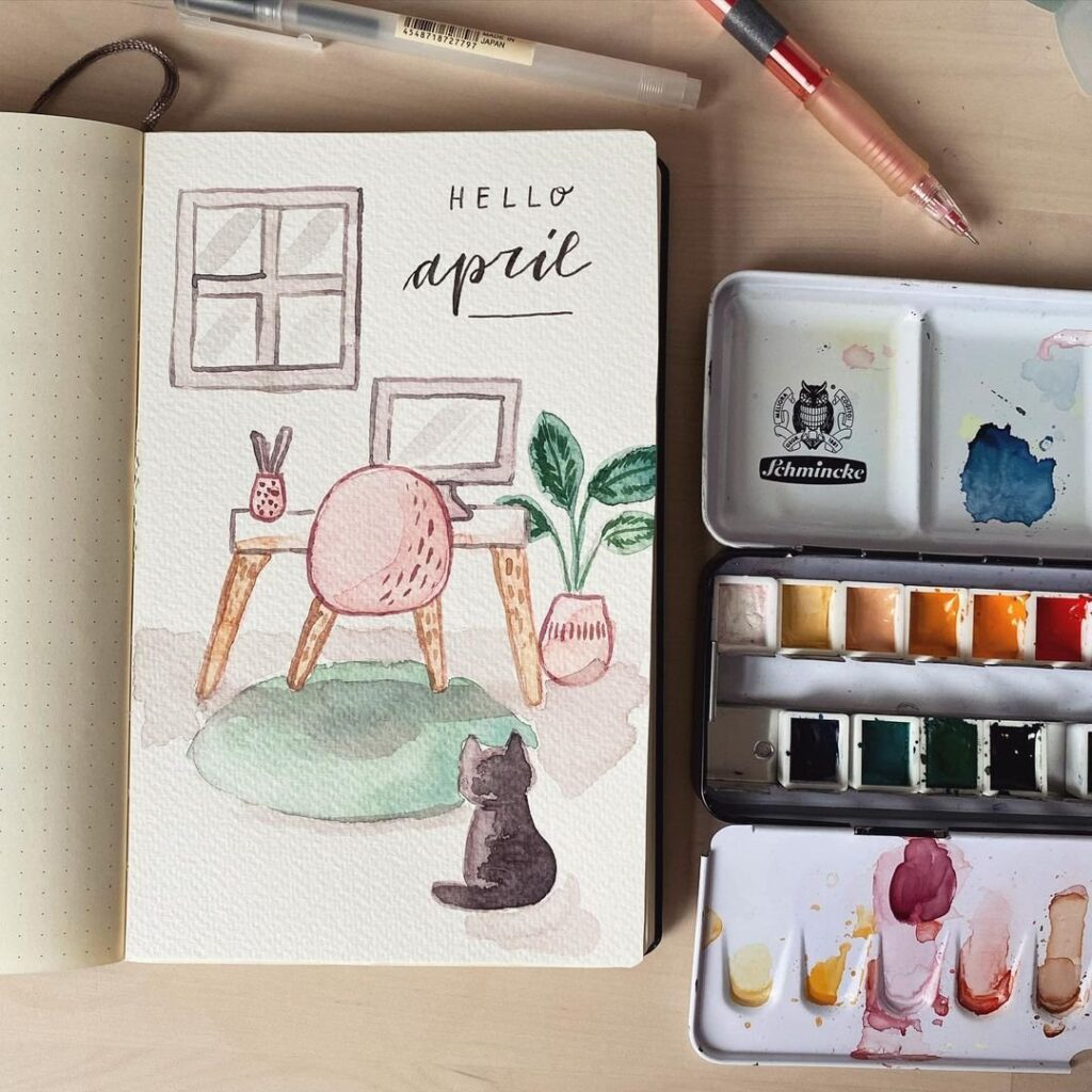 At Home Watercolor April Bullet Journal Cover