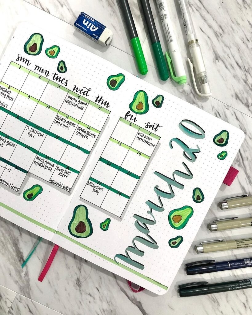 Avocado March Spread for bullet journal