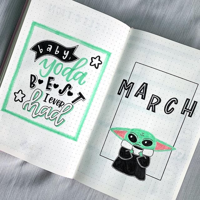 Baby Yoda March Bullet Journal Cover