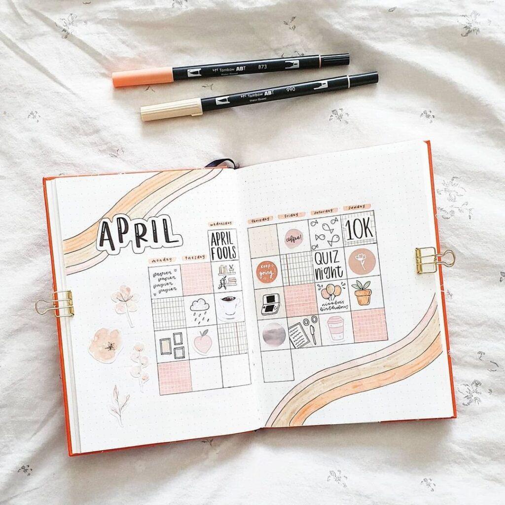 Beautiful April Bullet Journal Spread Idea