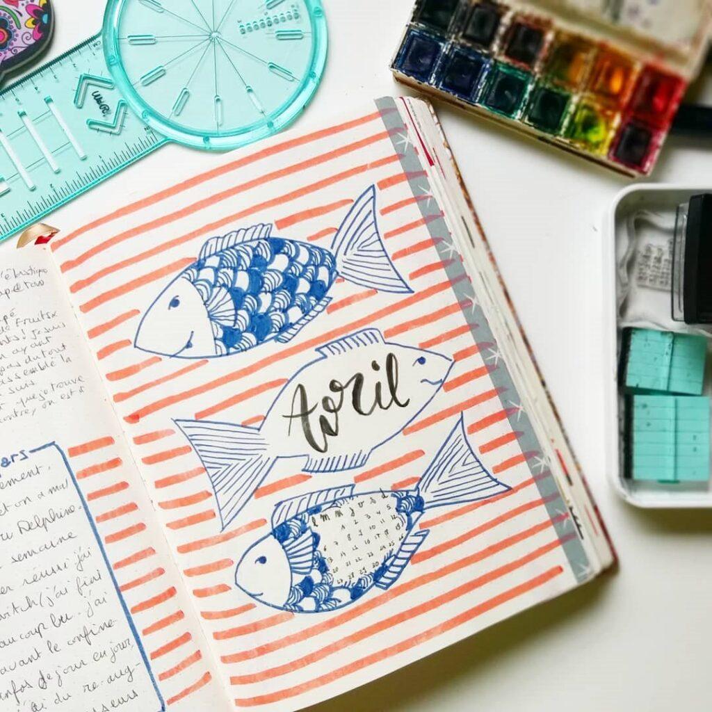 Beautiful Fish April Bullet Journal Cover Idea
