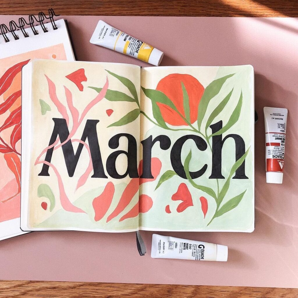 Beautiful Painted March Bullet Journal Idea