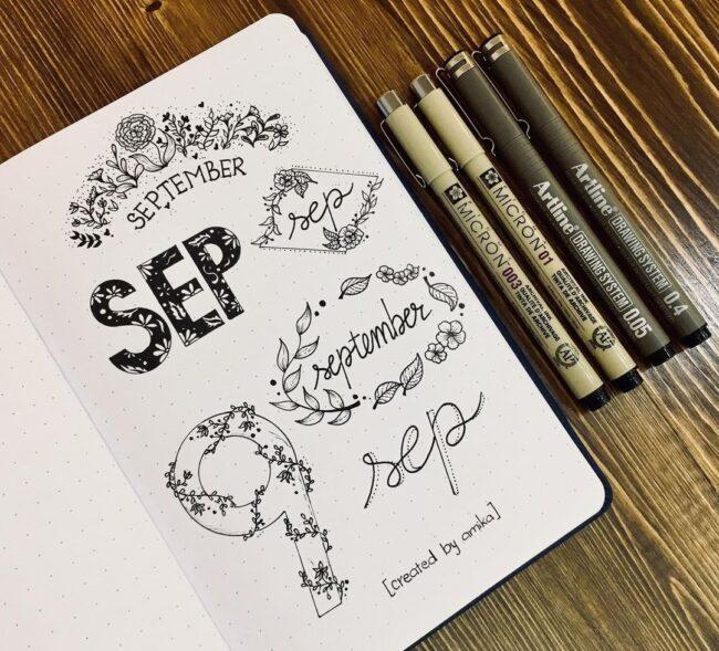 Beautiful September Bullet Journal Header Ideas