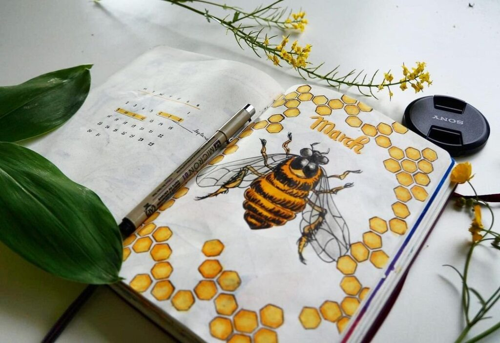 Bee March Bullet Journal Cover