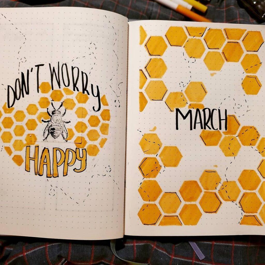 Bee honeycomb march bullet journal spread