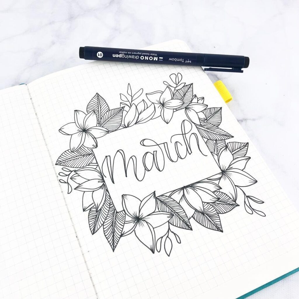 Black and White Floral March monthly cover for bujo