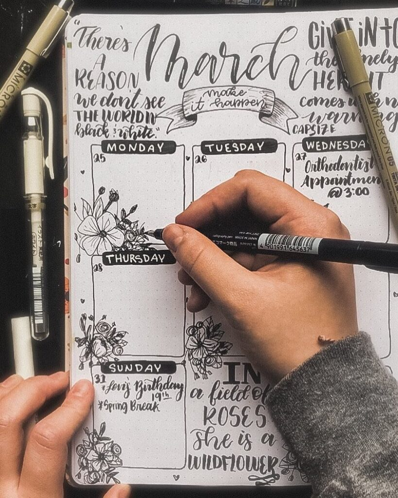 Black and White Floral March Bullet Journal Idea