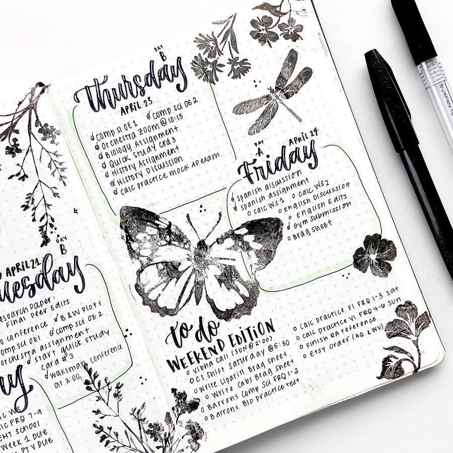 Black and White Stamp April Bullet Journal Idea