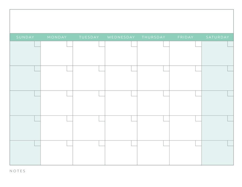 Blank Calendar Green