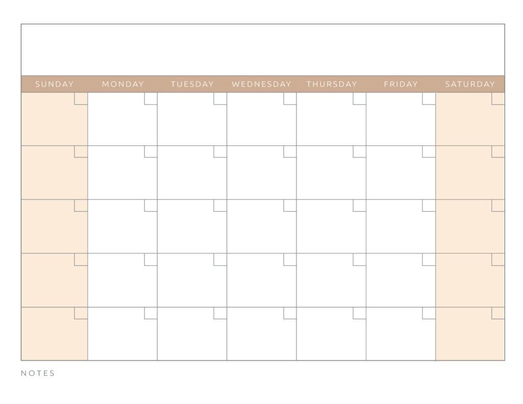 Blank Calendar Orange