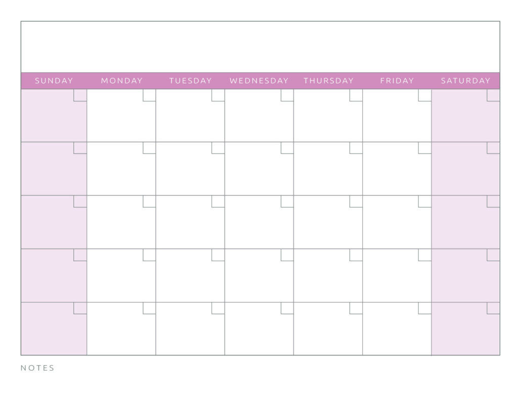 Blank Calendar Pink