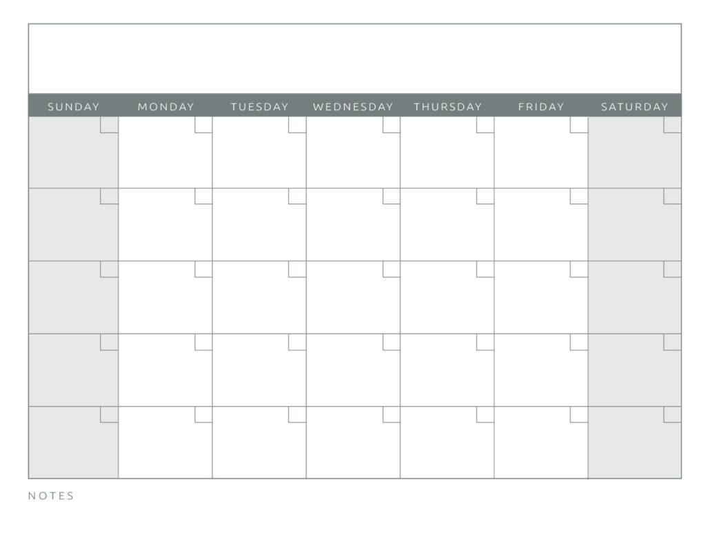 Blank Monthly Calendar Grey