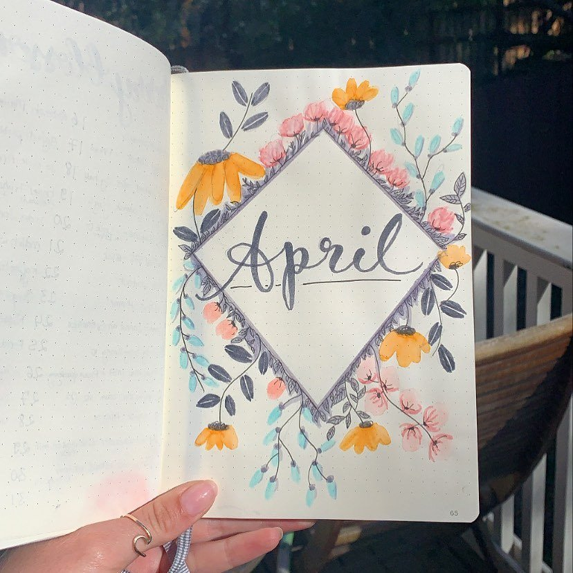Blooming Flowers April Bullet Journal Cover Idea