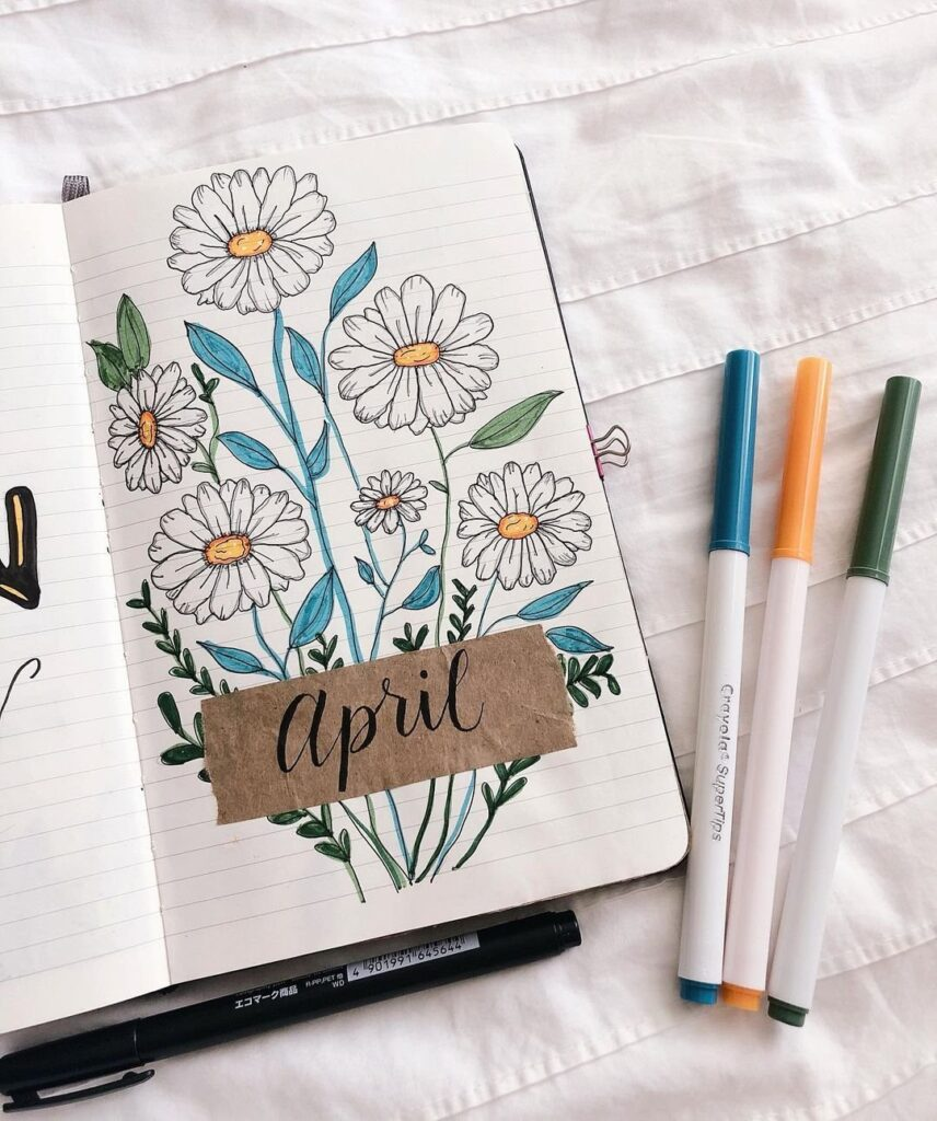 Blossoming Flowers April Bullet Journal Cover
