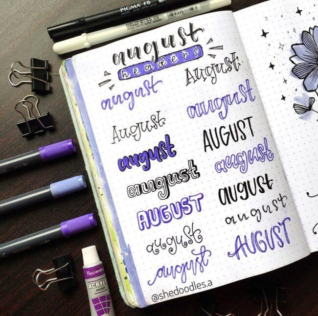 Blue August Bullet Journal Header Ideas