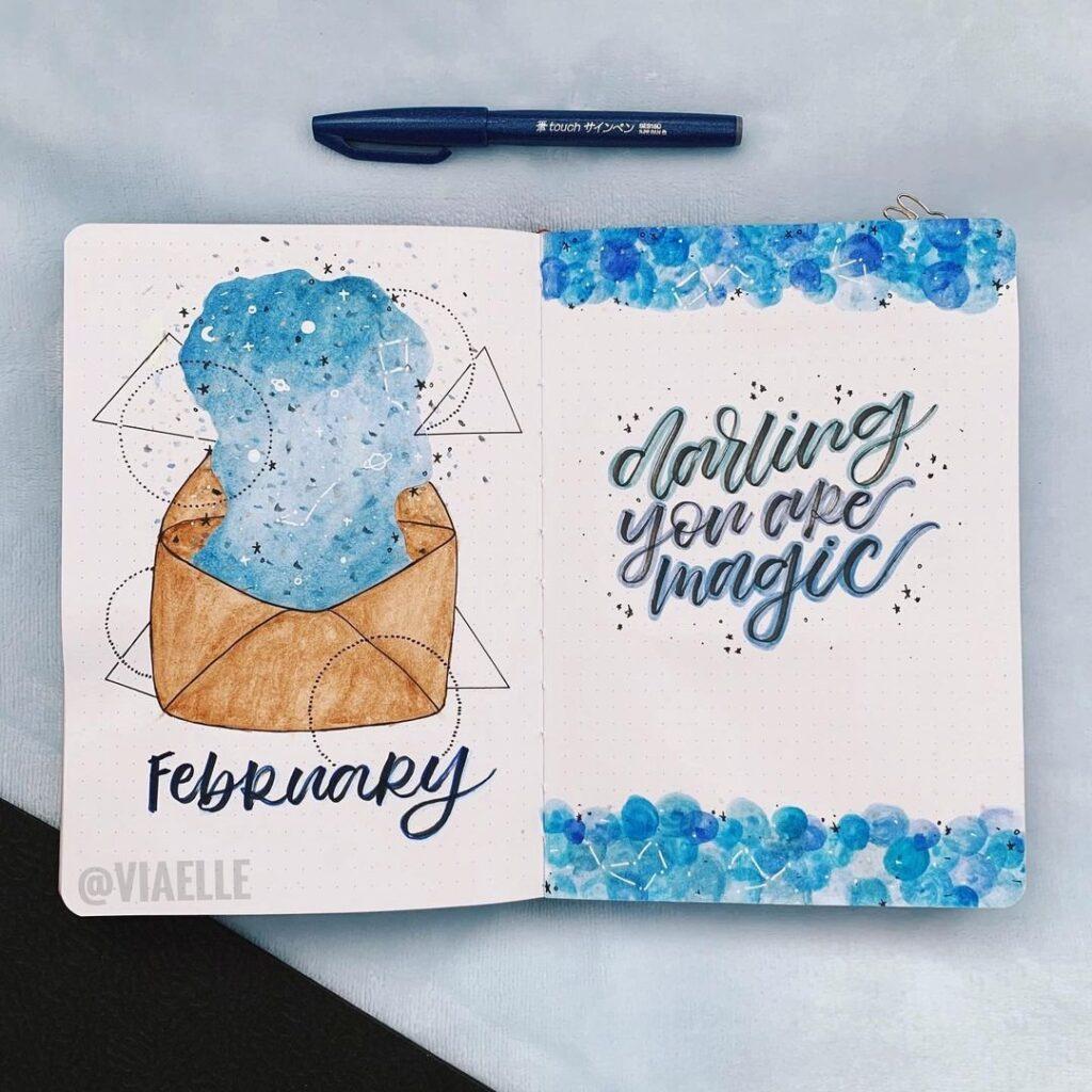 Blue Galaxy Bullet Journal Spread