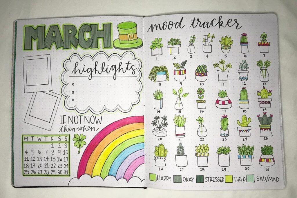 Botanical March Mood Tracker Bullet Journal Spread