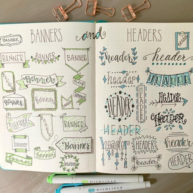 Bullet Journal Banner and Header Ideas
