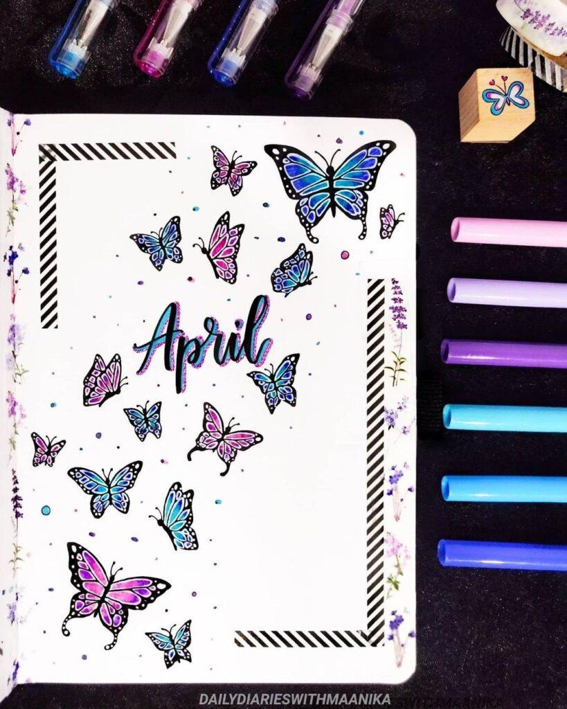 Butterflies April Bullet Journal Cover