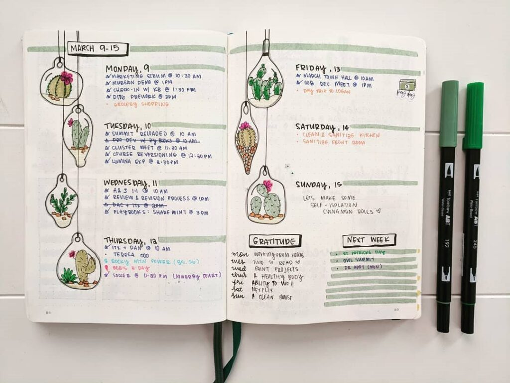 Cactus March Bullet Journal Spread