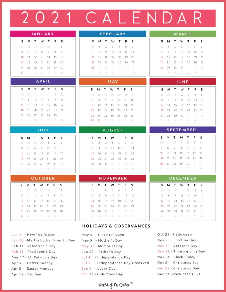 Calendar with Holidays 2021