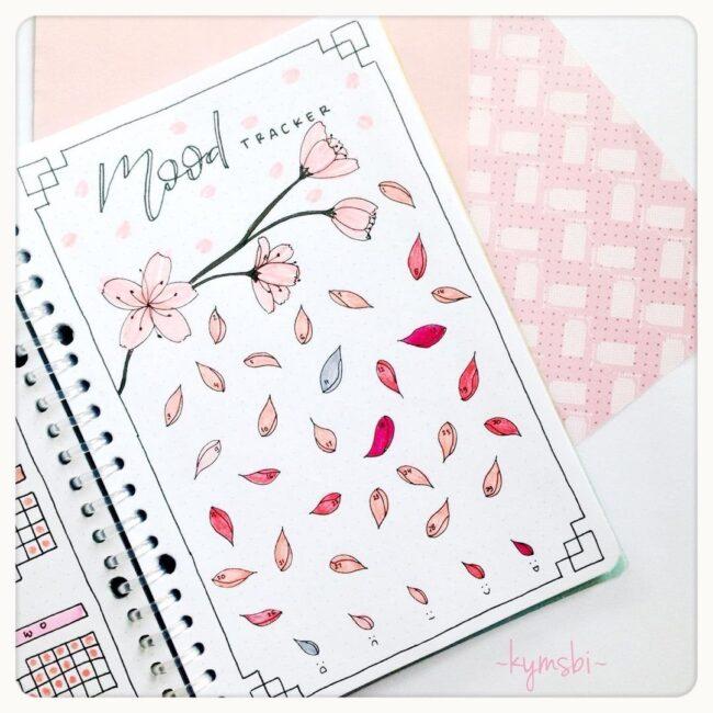 Cherry Blossom Bullet Journal Mood Tracker