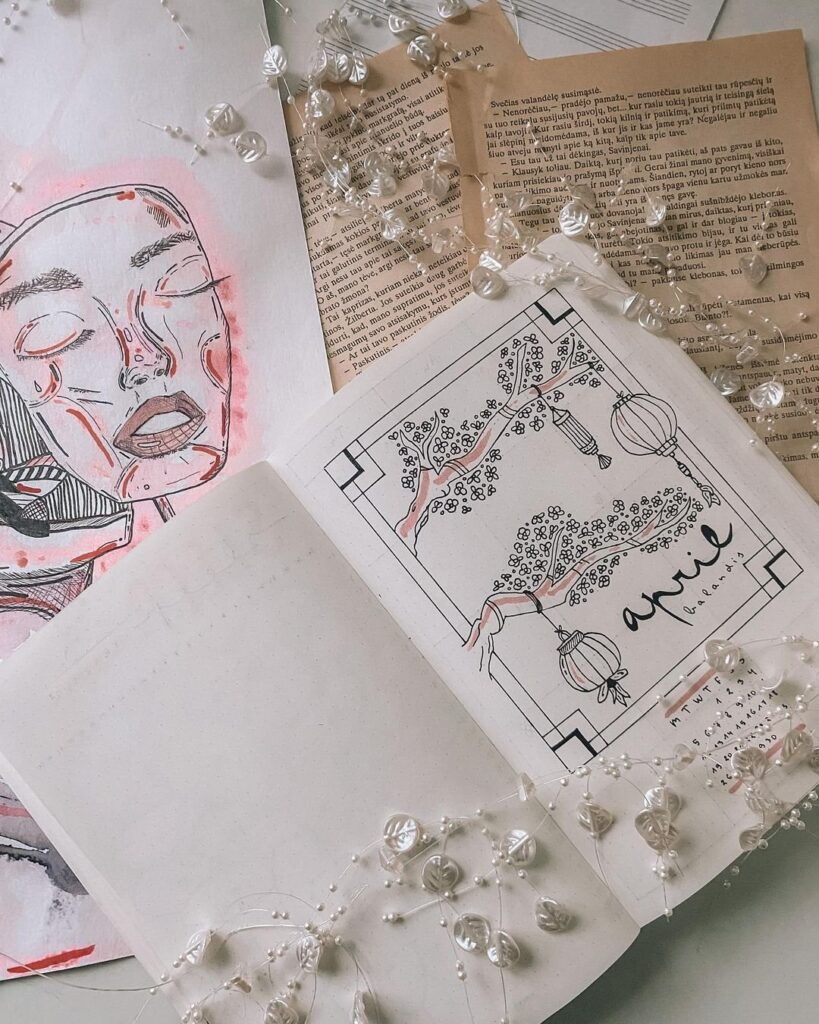 Chinese Lanterns April Bullet Journal Cover