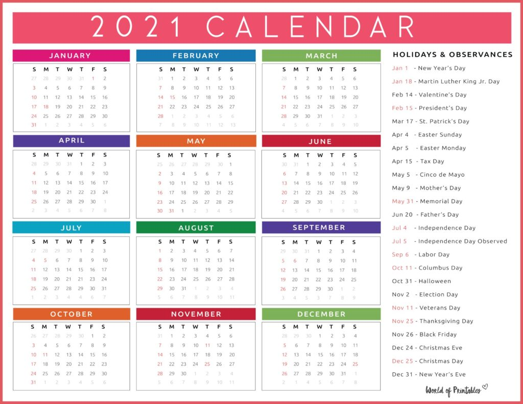 Color Calendar with Holidays 2021
