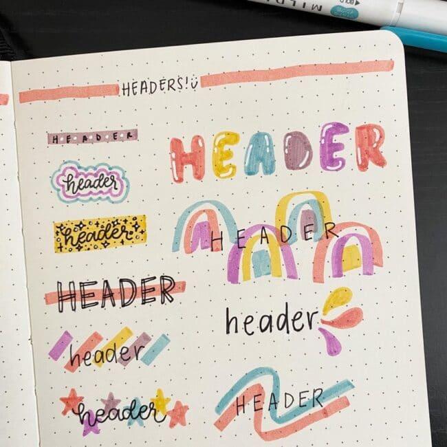 Colorful Bullet Journal Header Ideas