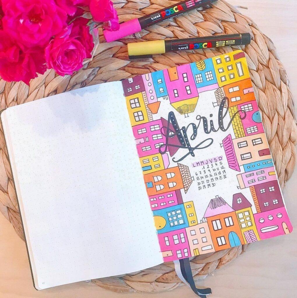 Colorful Houses April Bullet Journal Cover Idea