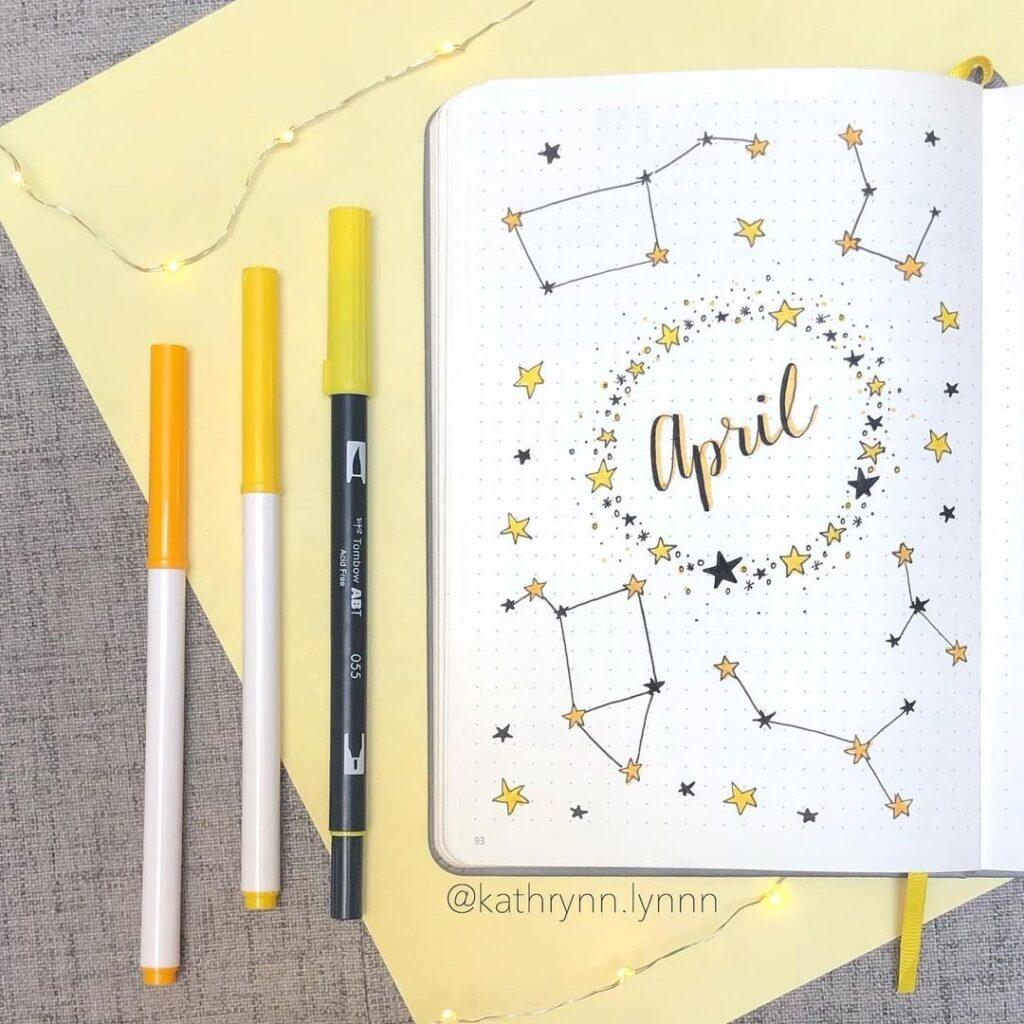 Constellation April Bullet Journal Cover