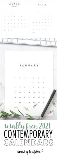 Contemporary printable calendar 2021